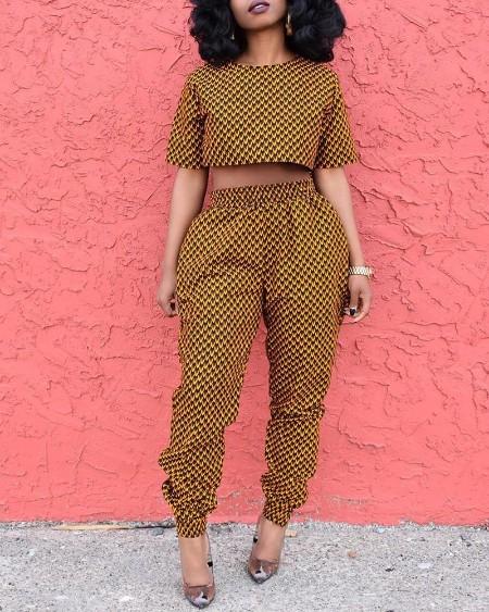 Print Short Sleeve Crop Top & Pant Sets