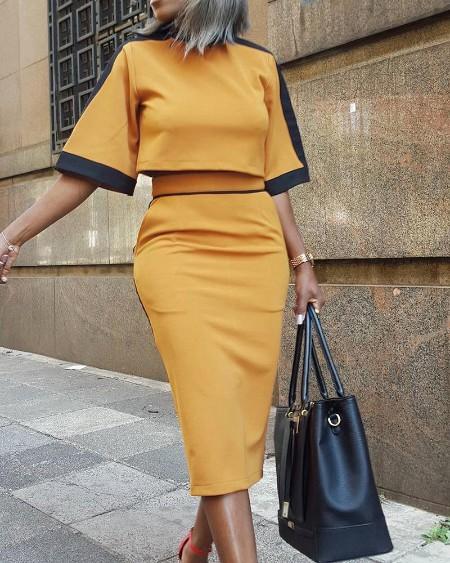 boutiquefeel / Colorblock Short Sleeve Crop Top & Skirt Sets