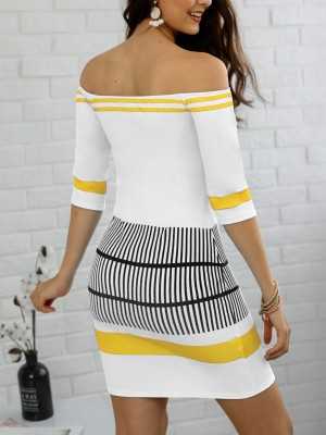 Contrast Striped Half Sleeve Bardot Bodycon Dress