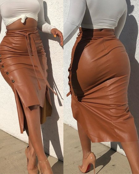 Buttoned Slit PU Leather Midi Skirt