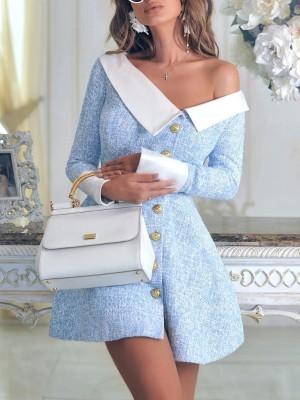 Contrast Color Single-Breasted Mini Dress