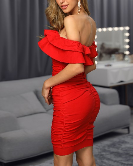 Solid Off Shoulder Ruched Layered Ruffles Bodycon Dress