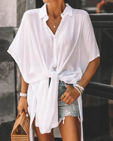 Solid Asymmetric Batwing Blouse
