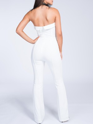 Solid Strapless Zipper Back Jumpsuits