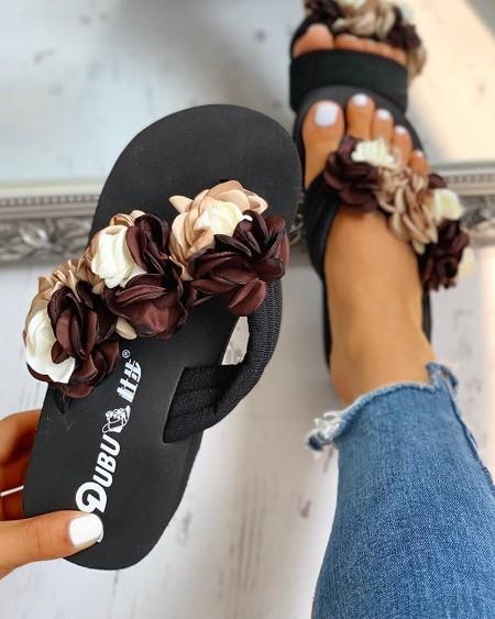 Ruched Flower Embellished Platform Sandals