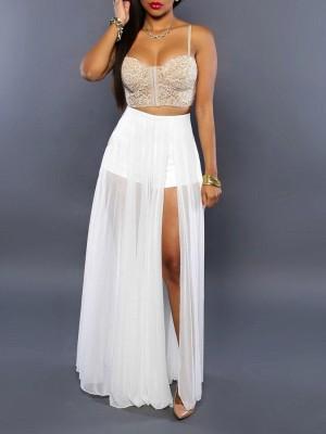 9adb457b2fa3 Sexy Elegant Women's Bandeau Pattern Boho Side Split Slim Waist Slit Long  Maxi Skirt Beach Dress