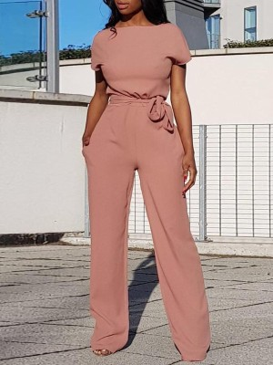 Alluring Solid Waist Belted Wide Pants Jumpsuit