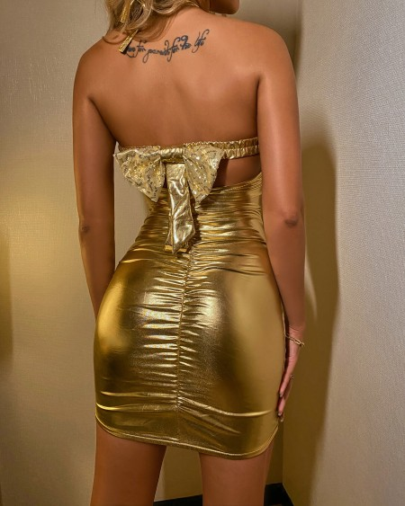 Sequins Open Back Party Dress