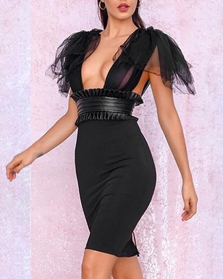 Mesh Patchwork Backeless Low Cut Dress
