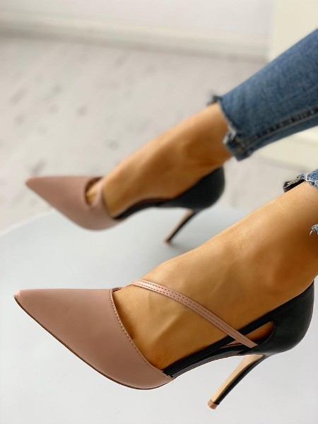 Pointed Toe Contrast Color Cut Out Thin Heels