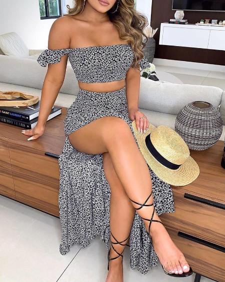 Ditsy Floral Print Off Shoulder Top & High Slit Maxi Skirt Set