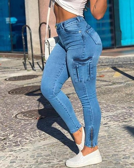 Buttoned Pocket Design Casual Jeans