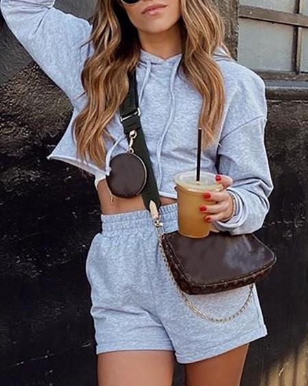 Hooded Long Sleeve Solid Top & Short Set