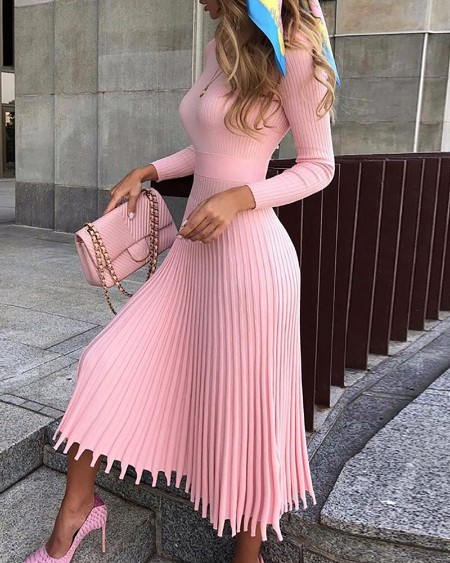 boutiquefeel / Solid Long Sleeve Pleated Sweater Dress