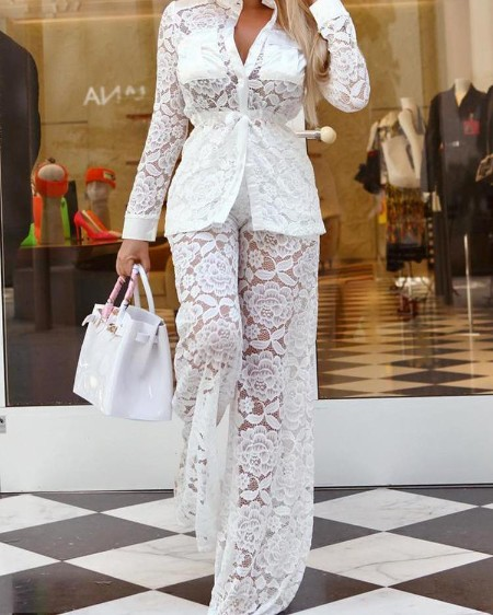 Lace Crochet See Through Flared Tracksuits