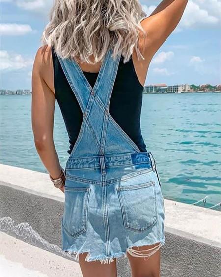 Denim Bottoned Pockets Suspender Dress