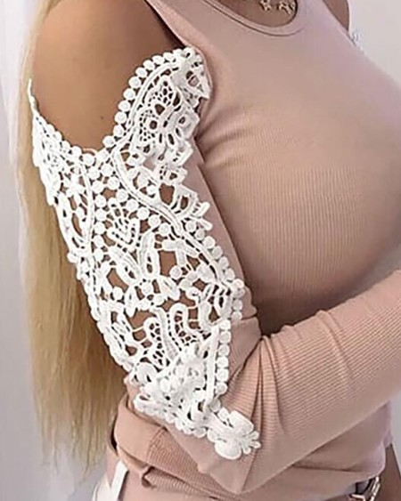 Cold Shoulder Lace Hollow Out Blouse