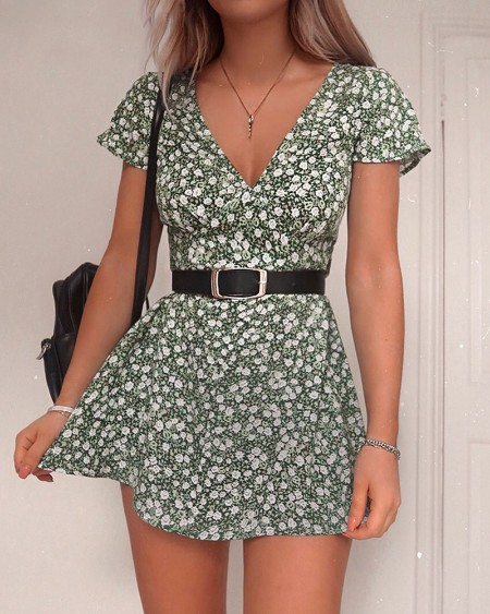 V-Neck Short Sleeve Floral Print Dress