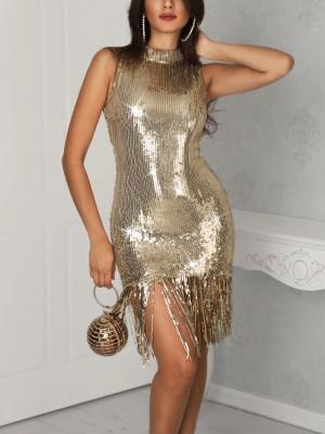 Tassel Hem Bodycon Sequin Dress