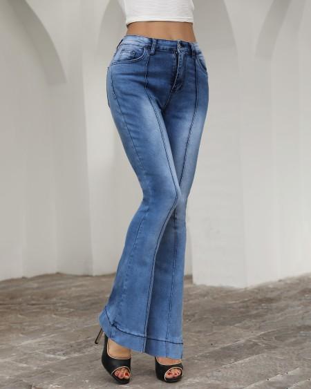 Solid High Waist Bell-Bottom Jeans