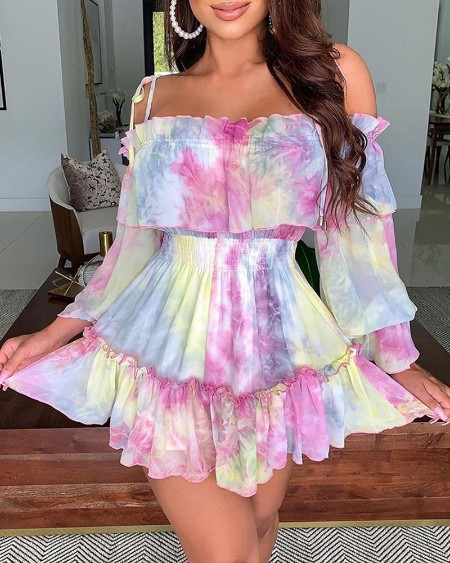 Frill Hem Ruffles Shirring Detail Tie Dye Print Dress