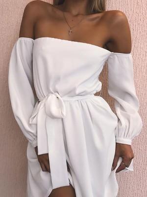 Trendy Off Shoulder Belted Casual Dress