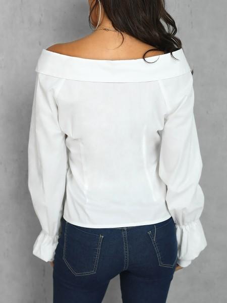 Lantern Sleeve Off Shoulder Blouse