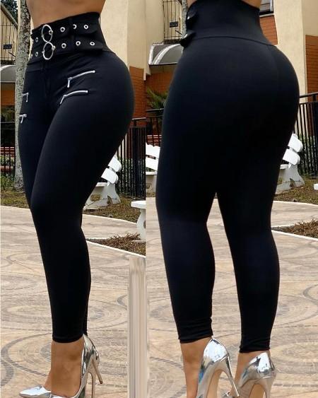Eyelet O Ring Zipper Design High Waist Pants