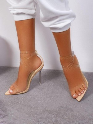 Transparent Mulit-Strap Thin Heeled Sandals