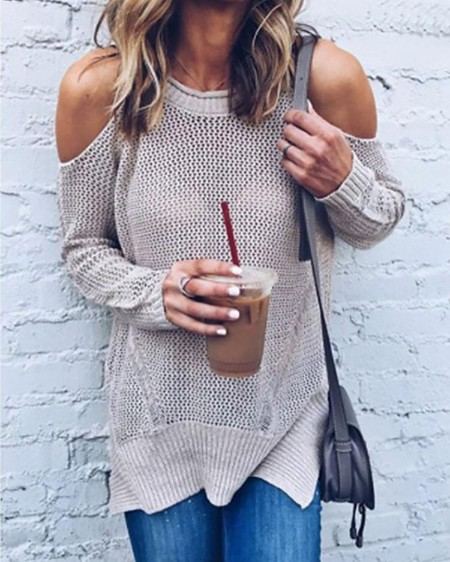 boutiquefeel / Trendy Plain Open Shoulder Casual Sweater