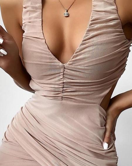 Plunge Neck Bodycon Mini Dress