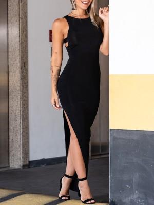Sexy Cutout Sleeveless High Split Maxi Dress