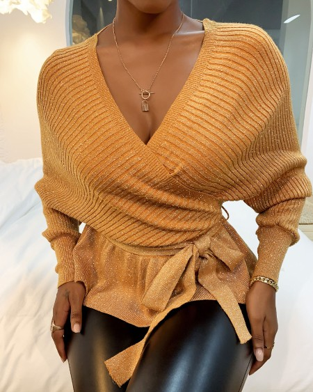 Surplice Knotted Plain Knit Sweater