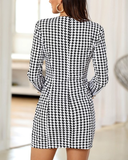 V-Neck Houndstooth Buttoned Bodycon Dress
