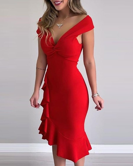Solid Twisted Chest Ruffled Midi Dress