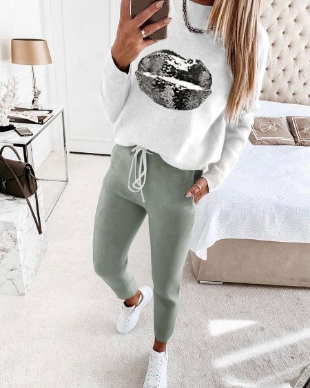 Sequins Lip Pattern Long Sleeve Top & Drawstring Pants Set
