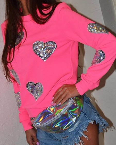 Sequin Heart Pattern Casual Sweatshirt
