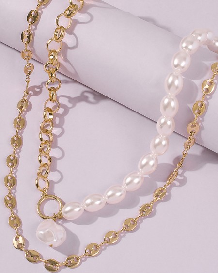 Pearl Beaded Chain Pendant Necklace