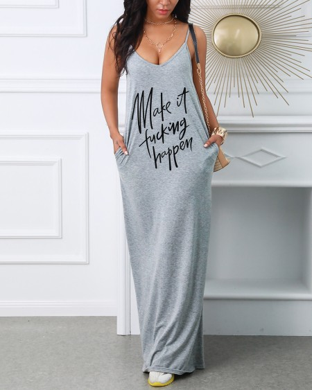 Casual V Neck Spaghetti Strap Maxi Dress