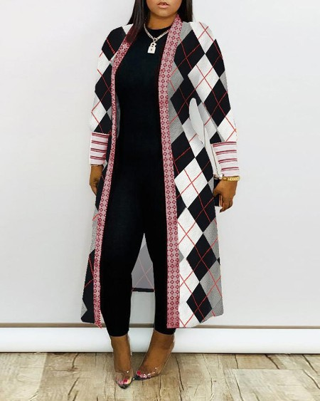 Geometry Zebra Stripe Print Ribbed Cardigan