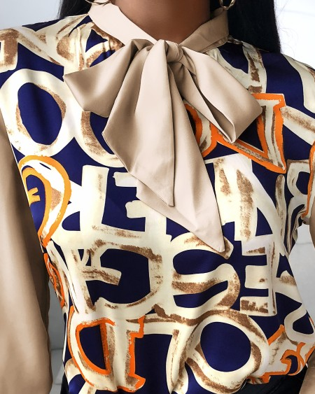 Letter Pattern Print Lantern Sleeve Shirt