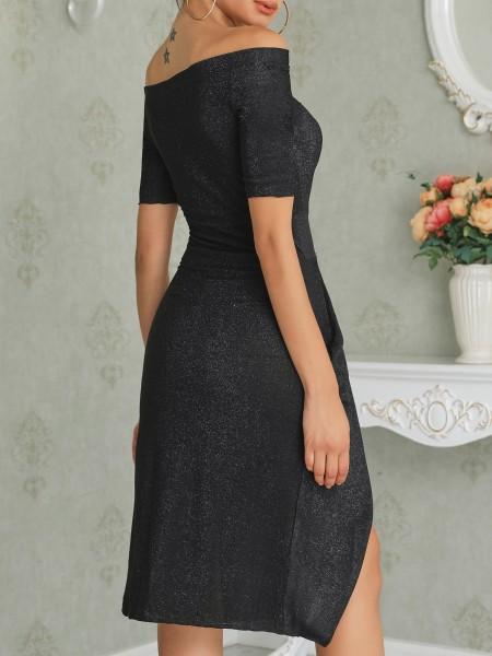 Off Shoulder Ruched Thigh Split Party Dress