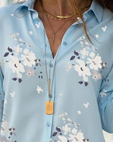 Floral Print Long Sleeve Casual Shirt