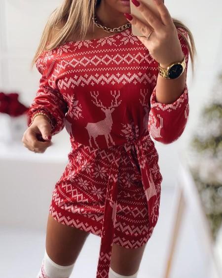 Christmas Reindeer Print Long Sleeve Bodycon Dress