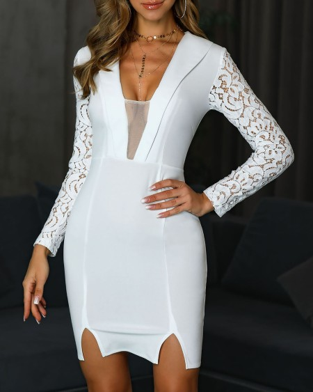 Sheer Mesh Lace Insert Bodycon Blazer  Dress