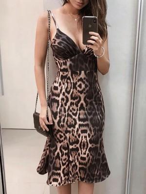 Leopard Plunge Spaghetti Strap Pep Hem Midi Dress