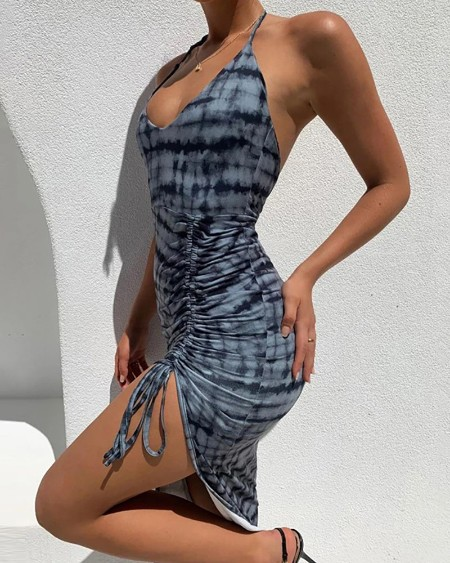 Halter Backless Drawstring High Slit Maxi Dress