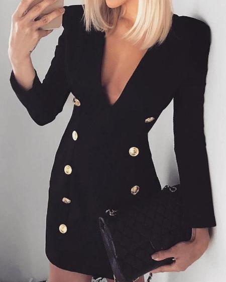boutiquefeel / Double-Breasted Long Sleeve Blazer Dress