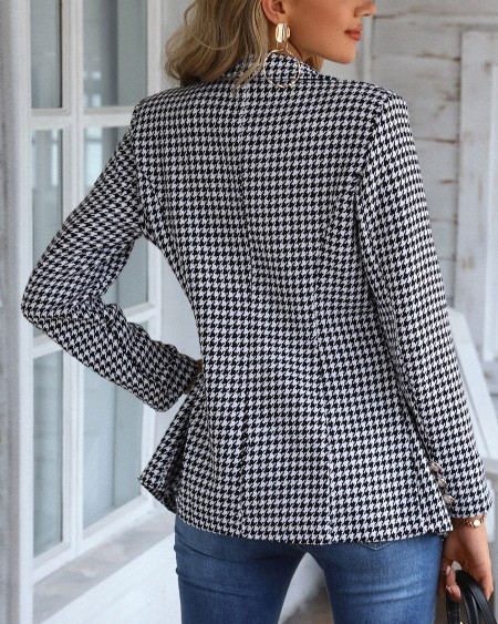 Houndstooth Print Double Breasted Blazer Coat