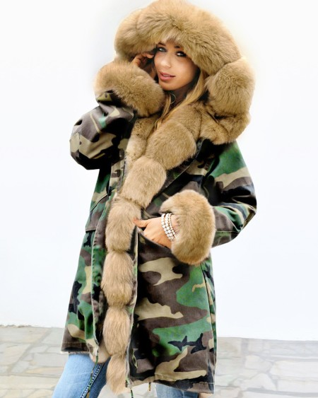 Camouflage Print Faux Fur Casual Coat